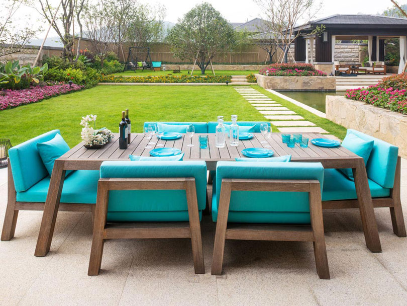 Custom outdoor seat and scatter cushions for a bespoke patio dining area