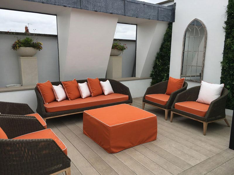 Bespoke Outdoor seat and scatter cushions for a roof terrace seating area