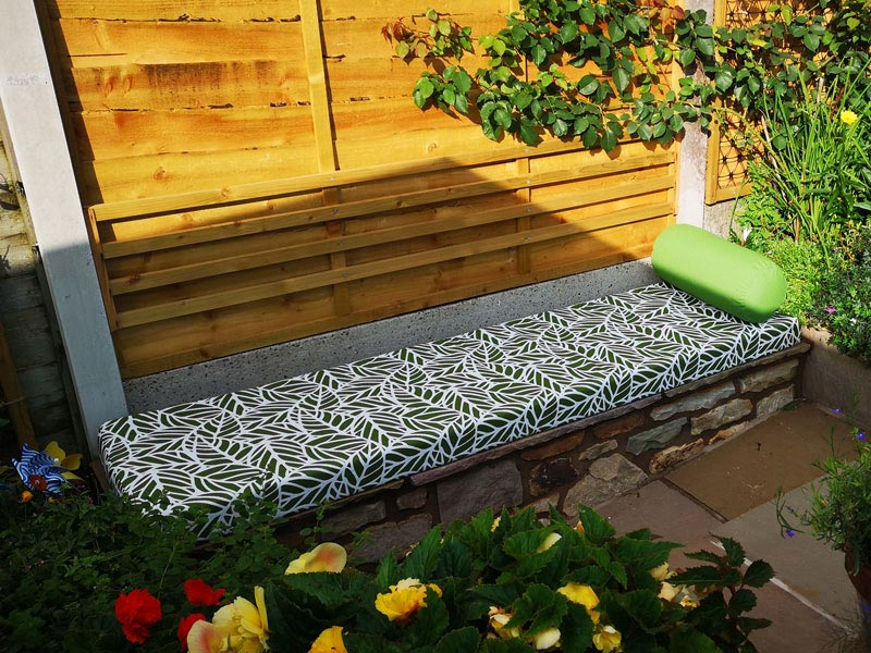 Bespoke Outdoor seat cushion and bolster for a patio seat