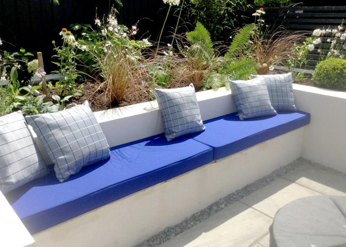 New outdoor foam cushions with contrasting outdoor scatter cushions