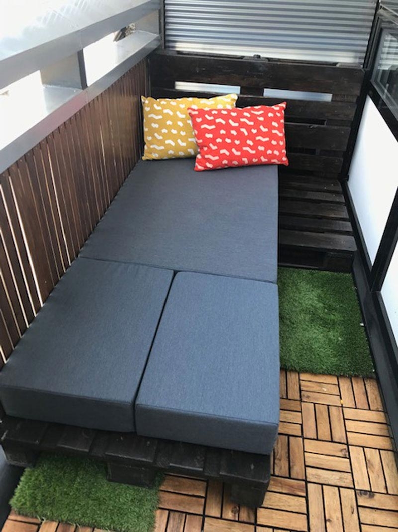The pallets, bespoke cushions and backrests can be re-arranged to make a bed!