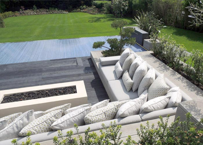 Outdoor Cushion examples for a display at the Chelsea Flower Show