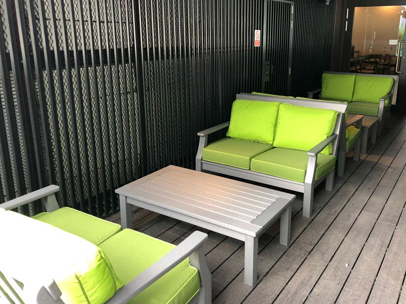Bespoke Outdoor seat and cushions for an exterior walkway