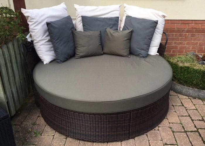 Bespoke outdoor cushions for a round rattan bed/lounger