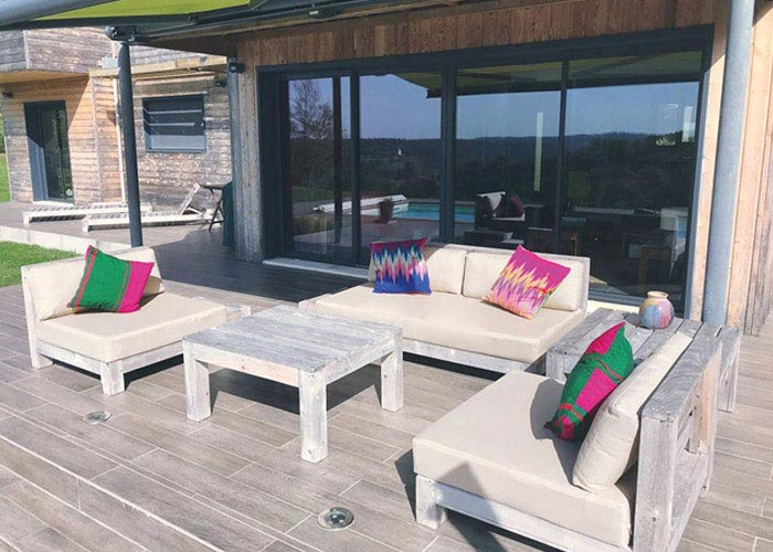 Bespoke outdoor cushions for a terrace seating area
