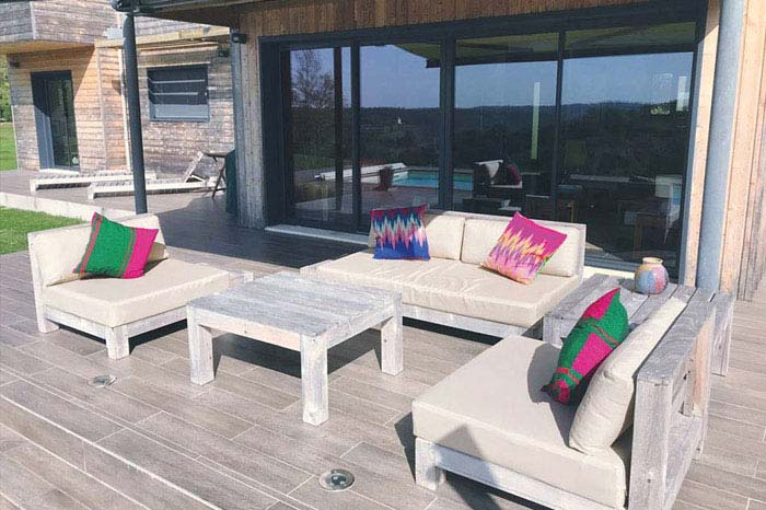 Bespoke sun and waterproof seat, fibre backrest and scatter cushions for timber built outdoor patio area furniture